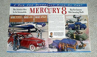 1941 Mercury 8  /  Double Page Color Ad / Automobile Advertisment Colliers