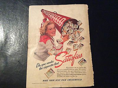 1940 CHESTERFIELD cigarettes  ad 8 1/2x11 cheerleader w/megaphone