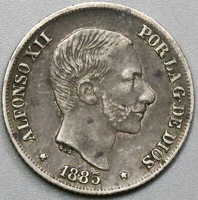 1885/3 PHILIPPINES Silver 10 Centimos Spain Colony Coin (17041130R)