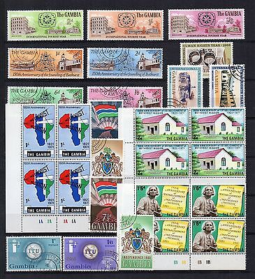 GAMBIA 1965-71 Unmounted Mint or VFU STAMP COLLECTION inc Blocks of 4  Ref:QE860