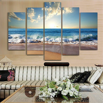 5pcs Seabeach on Canvas Print Wall Art Painting Picture Home Decor Unframed