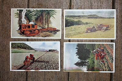 FOUR UNUSED, Vintage Allis-Chalmers Tractor Postcards, Condition could be better