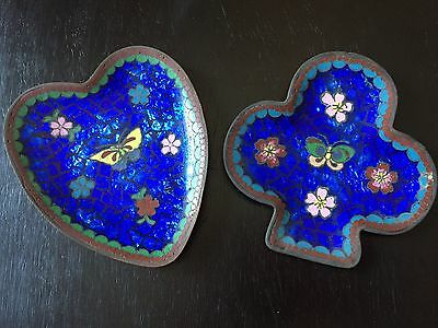 2 Unusual Japanese cloisonne 19th Century meiji floral Butterfly charger plates