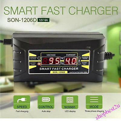 Hot 12V/6A Smart Fast Lead-acid Battery Charger for Car Motorcycle LCD EU Plug
