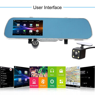 "Android Smart GPS Navigation 5"" HD Car Rearview Mirror DVR Dual Lens Camera"
