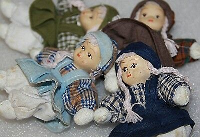 4 little dolls 10 cm dolls bisque dolls porcelain dolls small dolls cloth bodies