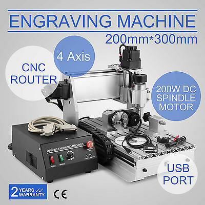 Usb Cnc Router Engraver Engraving Cutter 4Axis 3020T Carving Woodworking T-Screw