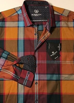 NWT BUGATCHI UOMO Men's WINE CHECK L/S CLASSIC FIT SPORT SHIRT Size LARGE