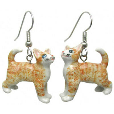 NORTHERN ROSE Porcelain Earrings GINGER ORANGE TABBY CAT Figurine Figure Jewelry
