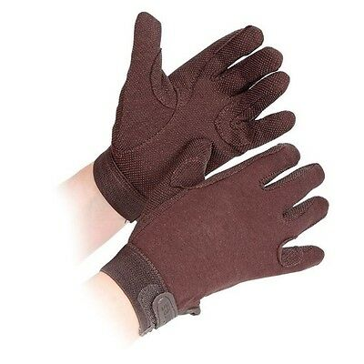 SHIRES NEWBURY gloves ADULTS BROWN 880 horse rider grip gloves cotton XS - XL