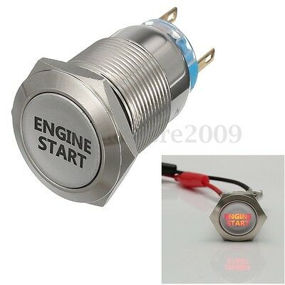 19mm Car Red LED Latching ENGINE START Metal Switch Push Button Lighted 12V DC