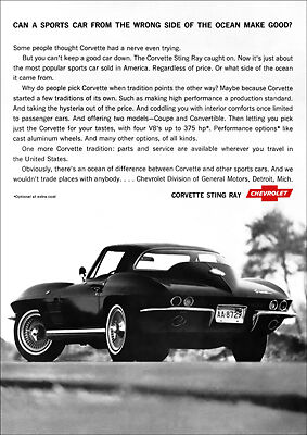 Chevrolet Corvette Sting Ray Retro A3 Poster Print From 1964 Advert