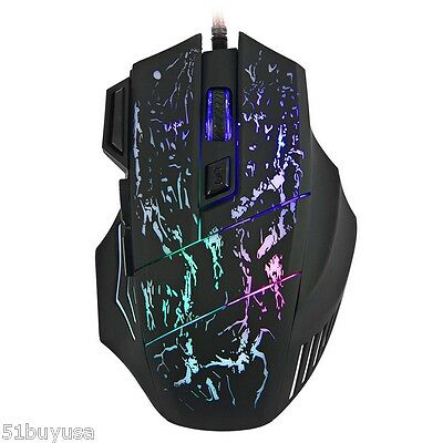 3200DPI 7 Buttons LED USB Wired Gaming Mouse Compatible with Computer and Laptop