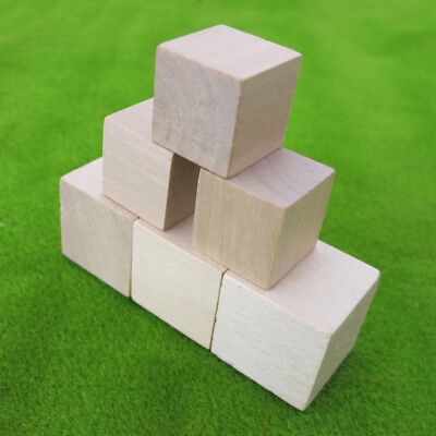 Wooden Cubes Block Natural Eco Brick Square Hardwood 20/25/ 90mm DIY Model Craft