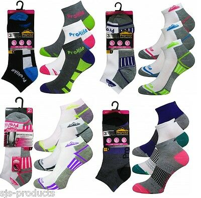 6 Pairs of Ladies Womens Running Trainer Socks Sports Liners Cotton Rich 4-8