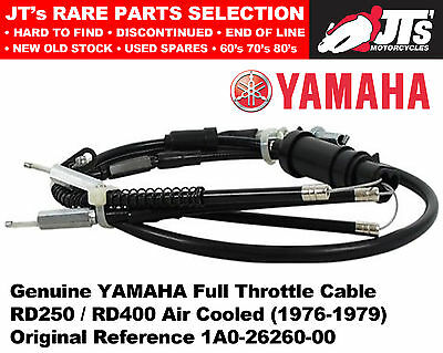 Genuine Yamaha Throttle Cable for RD250 / RD400 (76-79) 1A0-26260-00 1A2 1A3 2R8