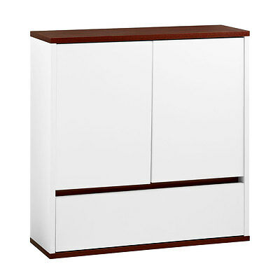 Chelsea White Wall Cabinet Double Drawer And Door Storage Cupboard Home Living