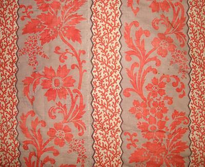 BEAUTIFUL EARLY 19th CENTURY FRENCH BLOCK & PLATE PRINT QUILTED COTTON, MADDER