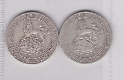 1915 & 1917 George V Silver Shillings In Good Fine Condition