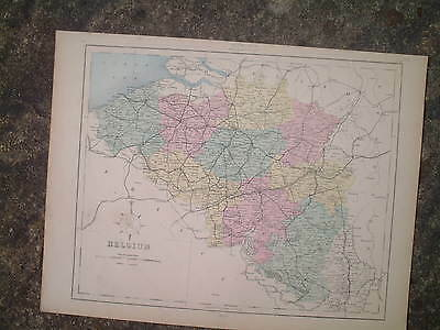 BELGIUM & LUXEMBOURG, antique map from 1880s, extremely good condition