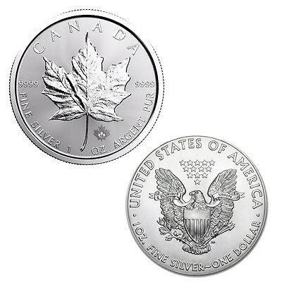 2017 $5 Silver Canadian Maple Leaf & 2017 Silver American Eagle - 2 Silver Coins