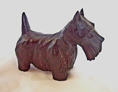 Vintage Wood Hand Carved SCOTTIE  SCOTTISH TERRIER Dog Figure