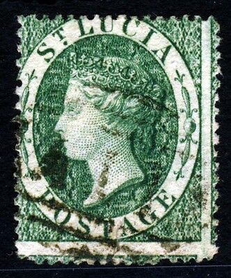 ST LUCIA Queen Victoria 1860 Six Pence Green Watermark Small Star SG 3 VFU