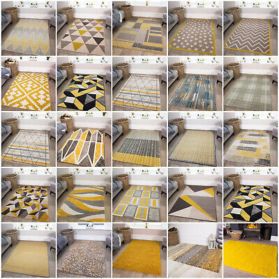 Modern Ochre Mustard Lemon Yellow Rugs Living Room Small Large Geometric Rugs UK