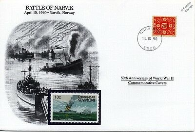 WWII 1940 Battle of Narvik Navy Warship Stamp Cover (Norway / Danbury Mint)