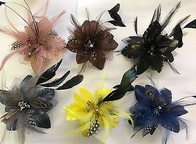 Wedding Ascot Races Feather Flower Fascinator Hair Accessories Brooch Grey No12