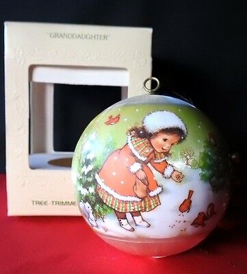 HALLMARK ORNAMENT 1979 Granddaughter Feeds Cardinals in snow Satin Ball