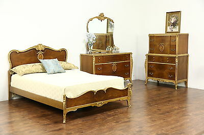 French Style 1940's Vintage 3 Pc Bedroom Set, Full Size Bed, Signed Joerns
