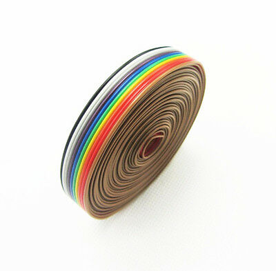1.27mm Spacing Pitch10 WAY 10P Flat Color Rainbow Ribbon Cable Wiring Wire