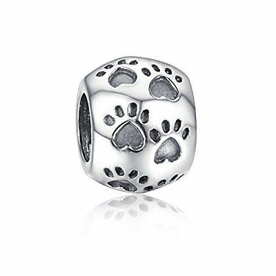 Sterling Silver 925 European Charm Silver Dog / Puppy Paw Prints Bead 99081