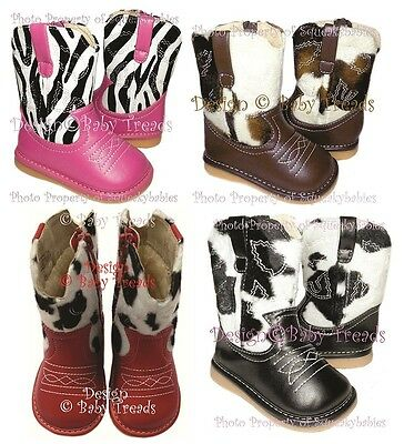 Squeaky Shoes Girls Cowboy Cowgirl Boots 4 Animal Prints DEFECTIVES ON SALE!!