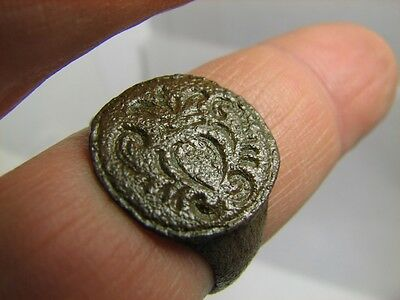 Excelent Bronze Viking  Big Seze Ring With Ornament!100% Wearable Artifact!#6046