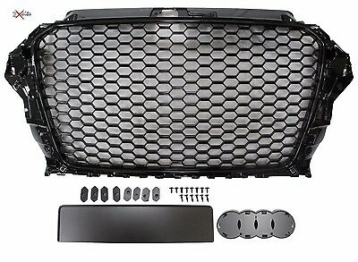 Audi A3 8V 2012-2016 Black Honeycomb Debadged Sports Rs Style Grill Badge Holder