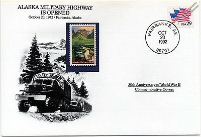 WWII 1942 Alaska Military Highway is Opened Stamp Cover (Fairbanks/Danbury Mint)