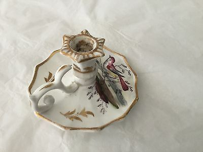 Antique hand painted porcelain child size chamberstick with bird
