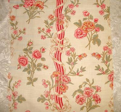 BEAUTIFUL ANTIQUE FRENCH 1930s FINE COTTON, ROSES CARNATIONS BOWS, REF