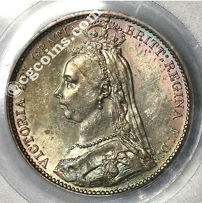 1887 PCGS MS63  Silver 6 Pence Jubilee Wreath GREAT BRITAIN Coin (17012201D)