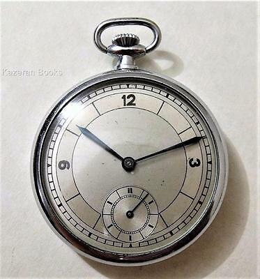 Vintage Art Deco Chrome Plated Fob Pocket Watch Spares Repair Broken Click