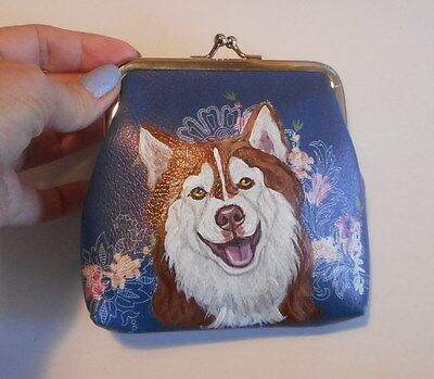 Red Siberian Husky dog Hand Painted Leather Coin Purse Vegan Mini wallet