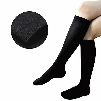1 Pair One Size Mens Ladies Travel Flight Compression Socks DVT Knee High Fly