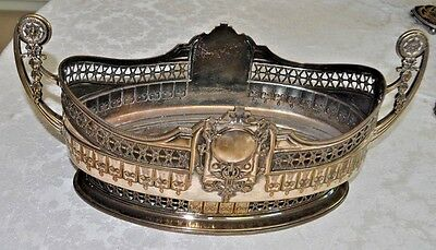 Antique  silver plate centrepiece large embossed oval fruit bowl