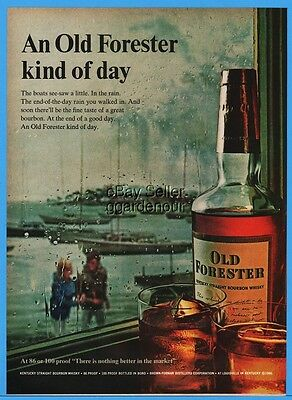 1966 Old Forester Whisky Brown Forman Louisville Sailboats In Rain Print Ad