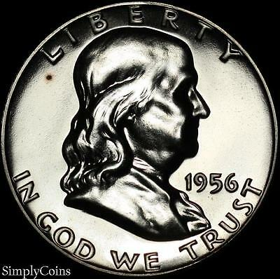 1956 Type 2 Franklin Silver Half Dollar ~ Proof Uncirculated Spotted ~ SKU-888