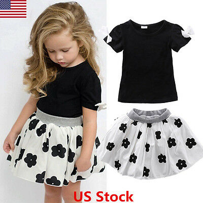 2Pcs Toddler Baby Girls T-shirt + Floral Skirt Set Kids Summer Dress Outfits USA