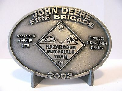 John Deere 2002 FIRE BRIGADE Hazard Employee Belt Buckle LtdEd Westfield Eng Ctr