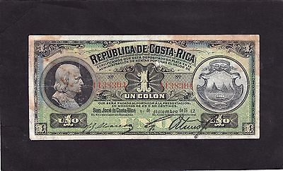Costa Rica  1 Colon 1912   P-143 G+/VG